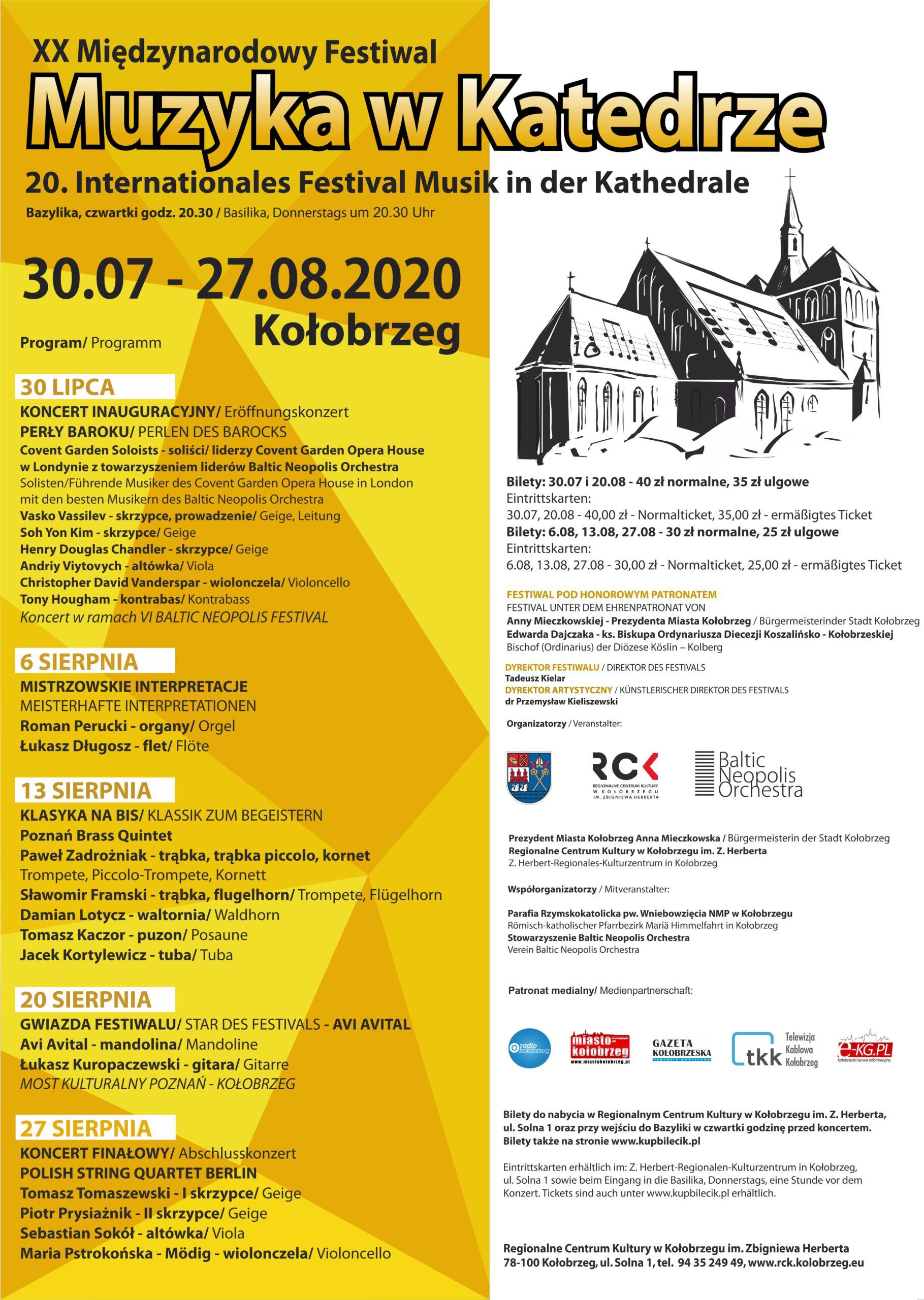 """XX Międzynarodowy Festiwal """"Muzyka w Katedrze"""""""